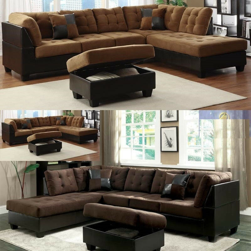 microfiber sectional couch leather sofa furniture in 2 color 3pc living room set ebay. Black Bedroom Furniture Sets. Home Design Ideas