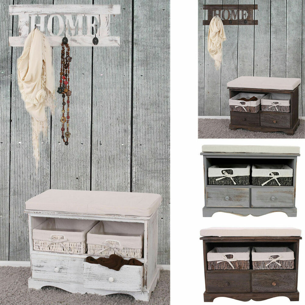 sitzbank kommode mit 2 k rben garderobe shabby look vintage wei braun grau ebay. Black Bedroom Furniture Sets. Home Design Ideas