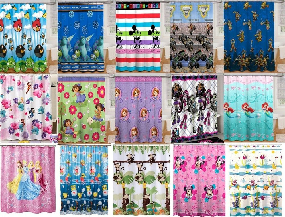 kids girls boys shower curtains multiple disney tv