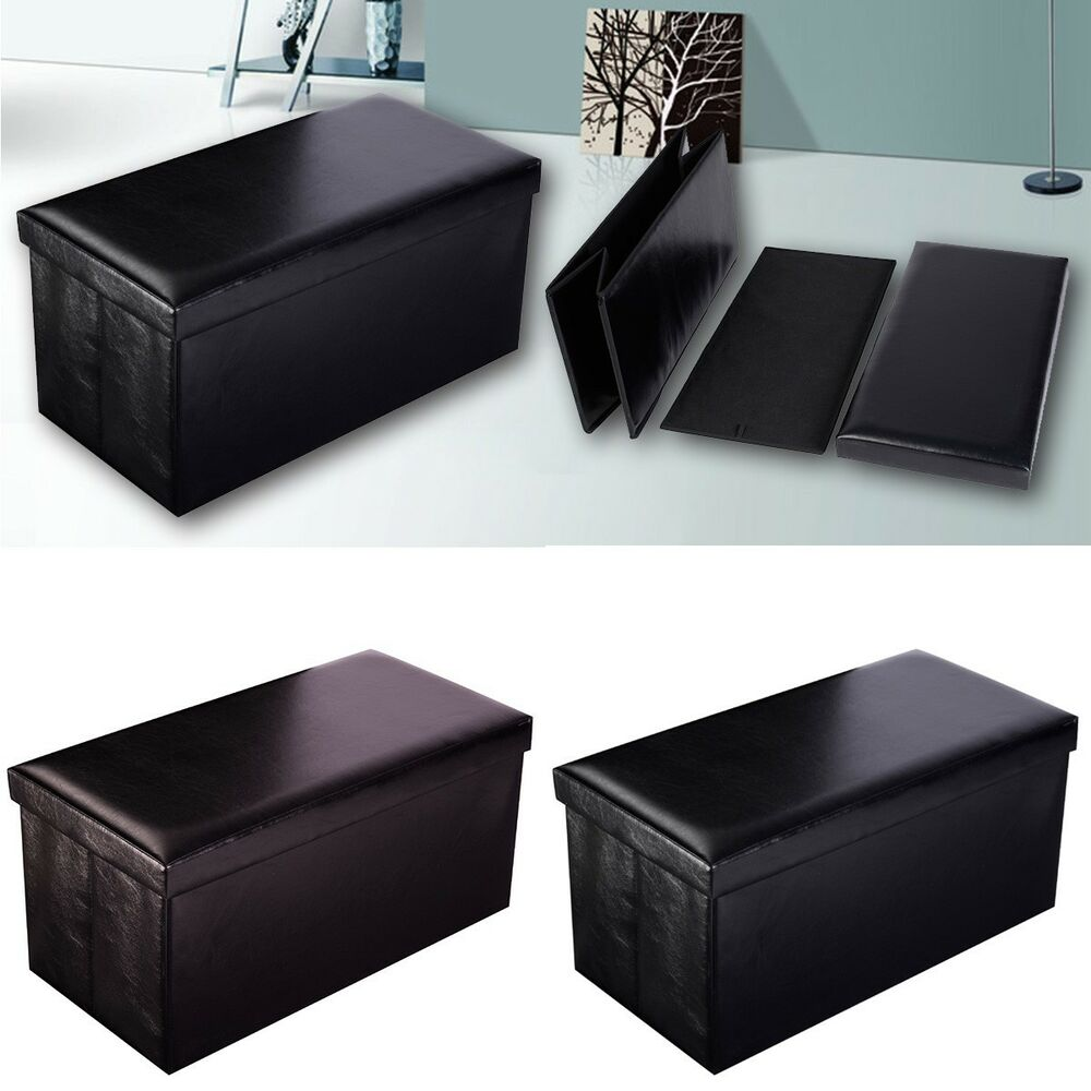 Folding Cuboid Faux Leather Ottoman Pouffe Storage Box