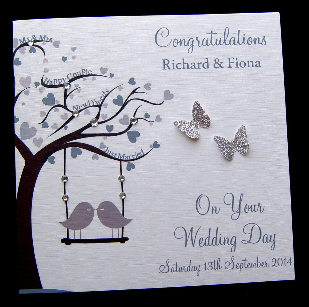 Large 8 X 8 Personalised Wedding Day Congratulations Card Handmade