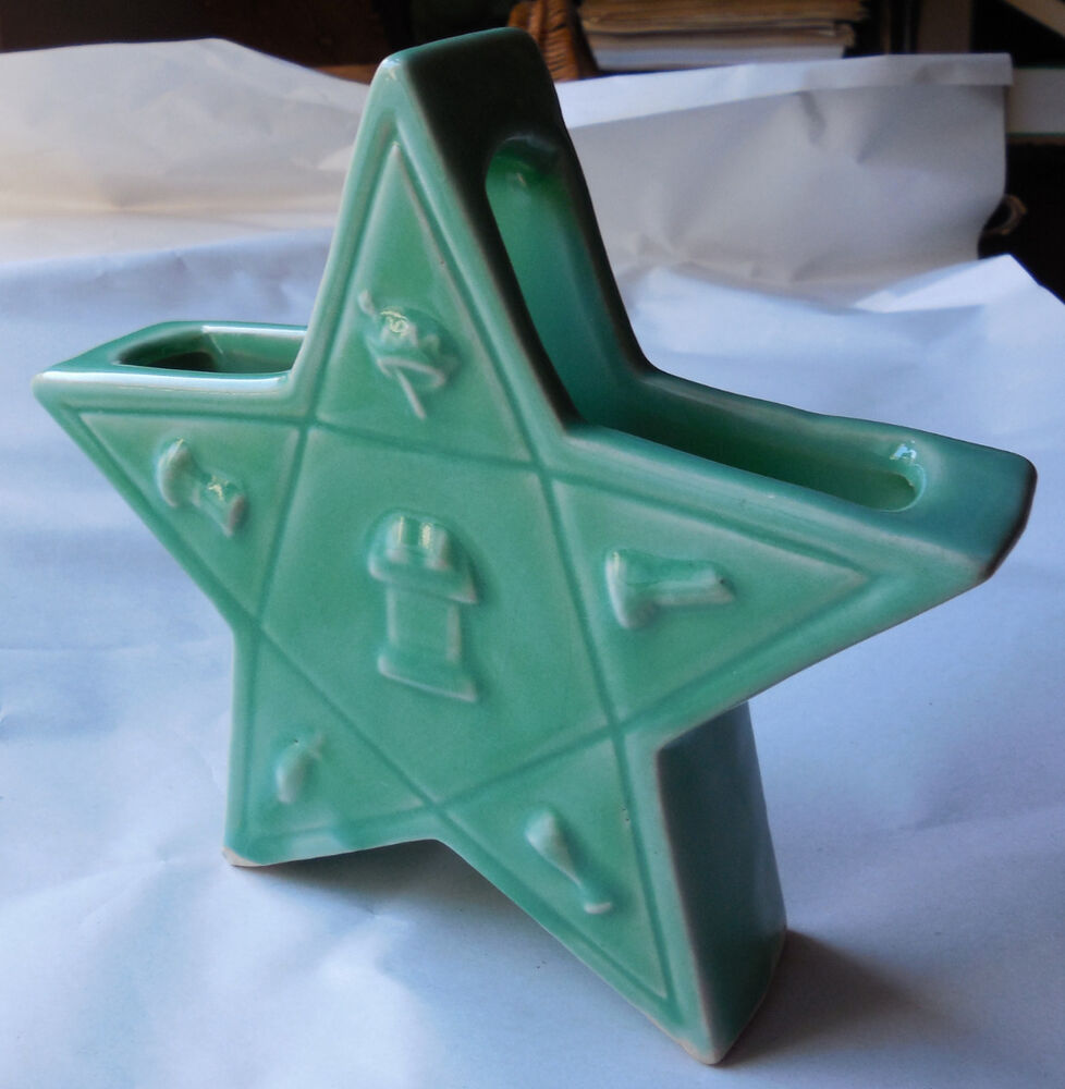 Vintage Pottery Masonic Order Of The Eastern Star Vase Ebay