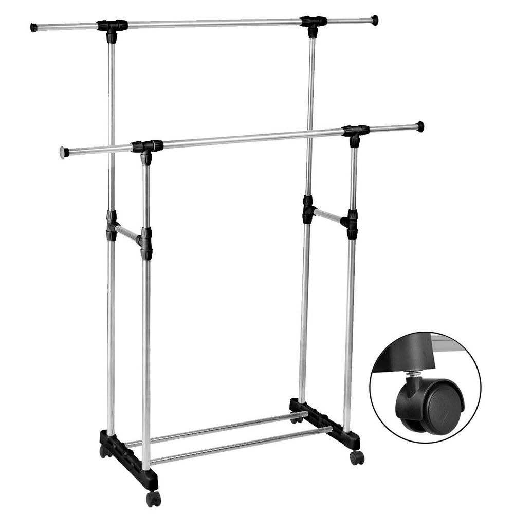 heavy duty double adjustable portable clothes rack hanger extendable rolling ebay. Black Bedroom Furniture Sets. Home Design Ideas