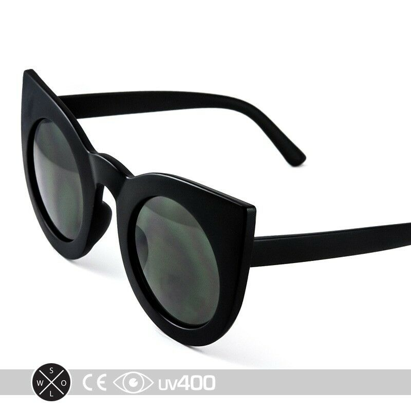 30dc7745bd Details about Matte Black Frame Fashion Round Half Frame Cateye Sunglasses  Cat Eye S263