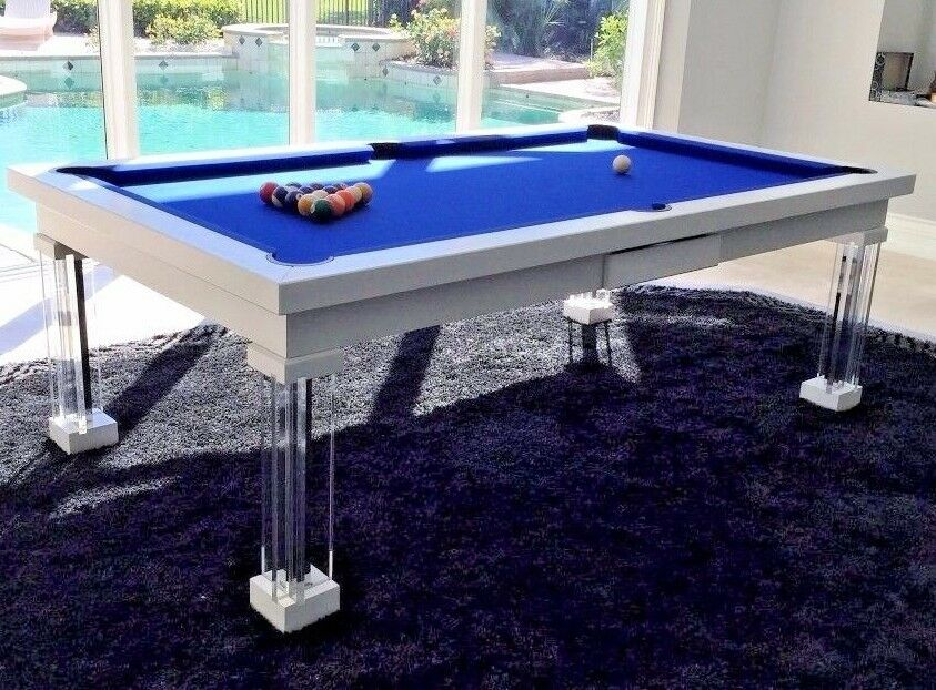 LUXURY CONVERTIBLE DINING POOL TABLE Billiard Dining Desk Fusion - Clear pool table