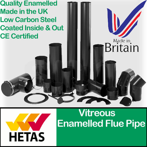 Black Stove Pipe Vitreous Enamel Wood Burner Flue Pipe