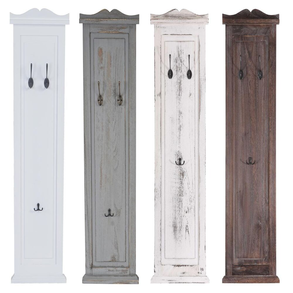 2x garderobe wandgarderobe wandhaken 109x28x4cm shabby look wei lackiert ebay. Black Bedroom Furniture Sets. Home Design Ideas