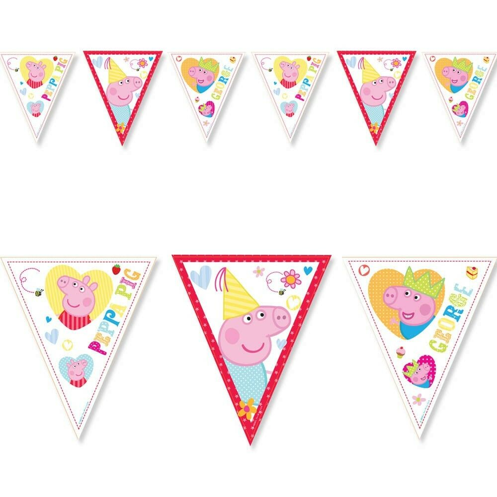 Peppa Pig Banner Peppa Pig Birthday Banner By: 6.5ft Peppa Pig RED Birthday Party Pennant Flag Banner
