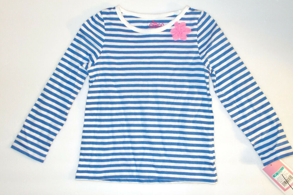 Circo Toddler Girls Blue And White Striped Long Sleeved