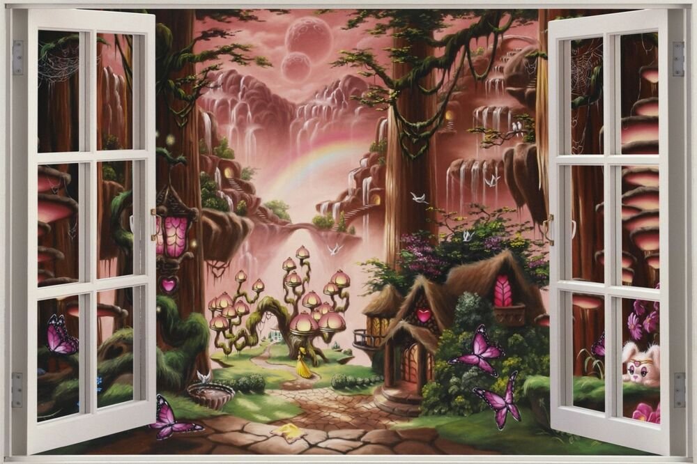 Huge 3d window view fantasy fairy tale forest wall sticker for Fairy tale mural