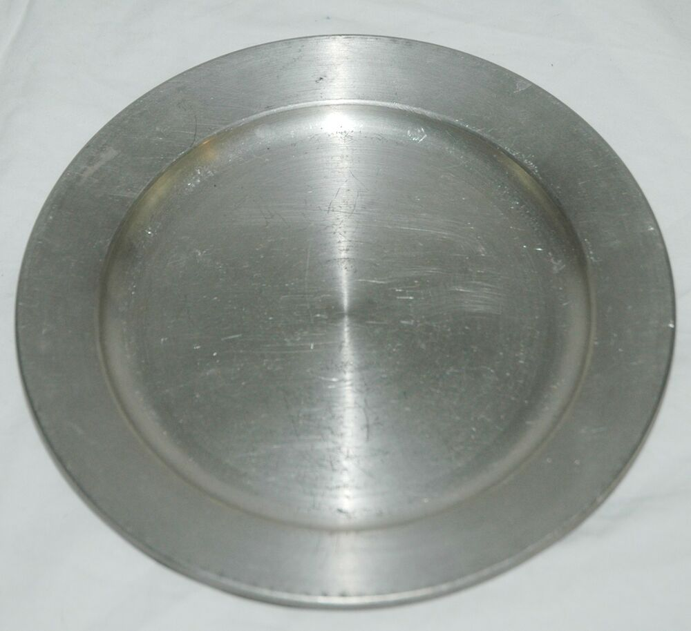 Antique Pewter Plates : Vintage antique pewter plate with markings on bottom