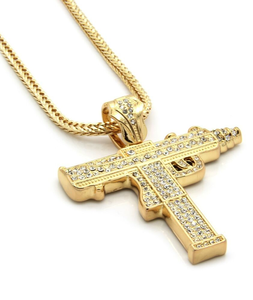"Mens Gold Iced Out Sub Gun Uzi Pendant Hip-Hop 36"" Inch"