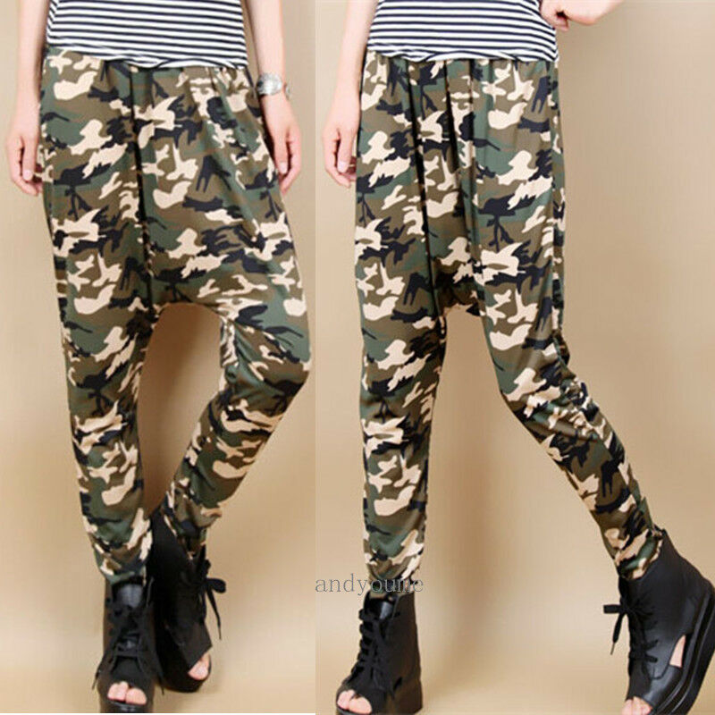 Fashion Womens Hip Hop Harem Pants Baggy Camouflage Jogger Dance Trousers Slacks Ebay