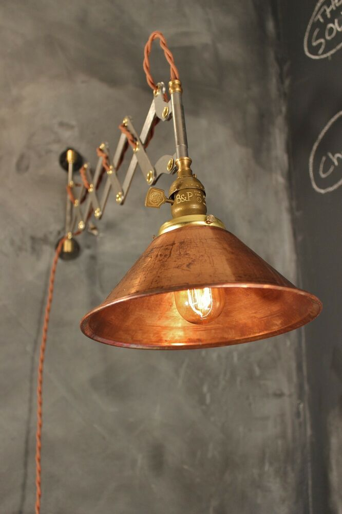 Industrial Lighting Vintage Scissor Lamp Accordion Sconce Light Art Deco Ebay