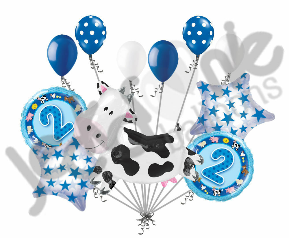 11pc 2nd birthday cow balloon bouquet happy decoration for 2nd birthday decoration