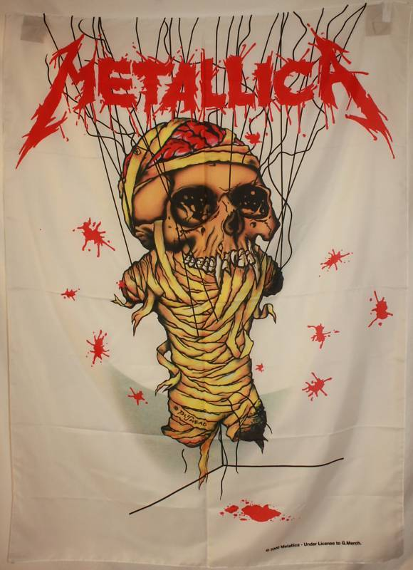 Fabric Wall Posters : Metallica one skeleton cloth fabric textile poster flag