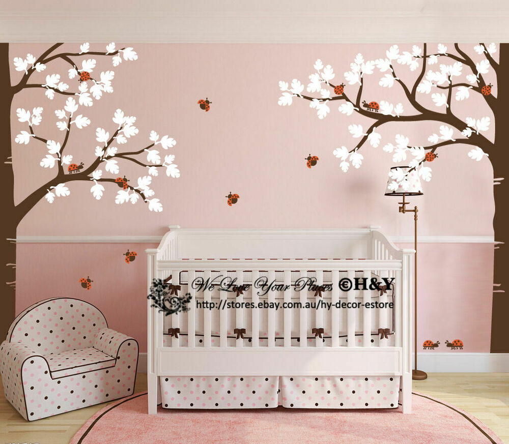 Full corner tree nursery wall stickers removable decal for Room decor art