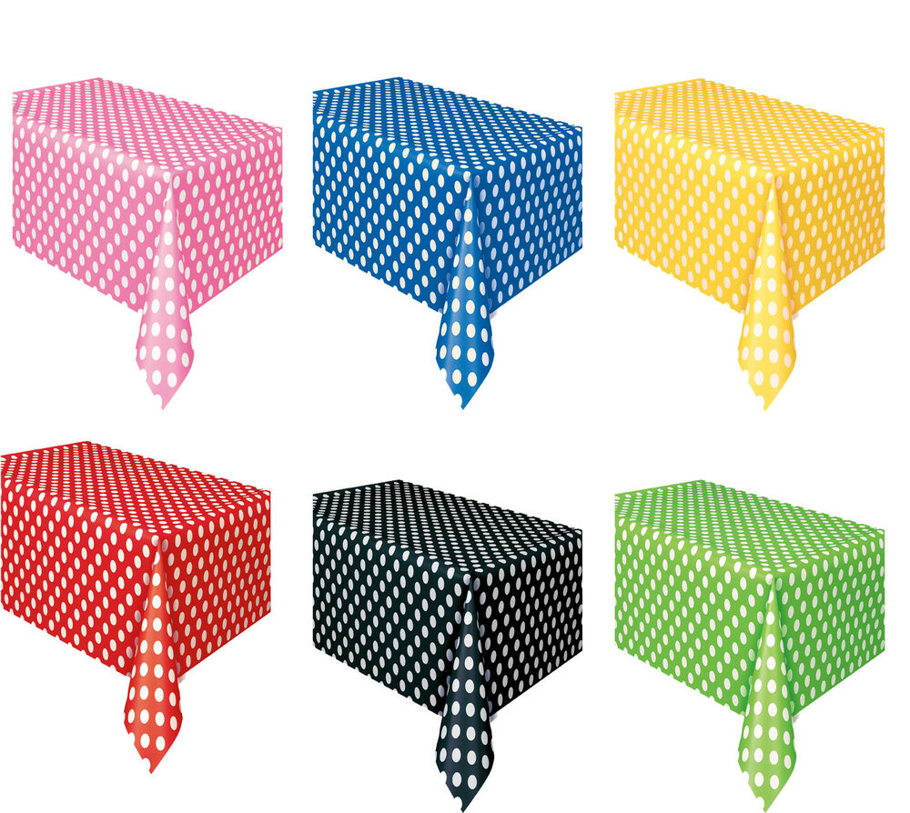 Polka Dots Spots Rectangle Plastic Tablecover Table Cloth
