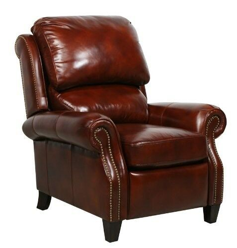 Barcalounger Churchill II Art Burl Leather Power Electric Recliner Lounger Ch