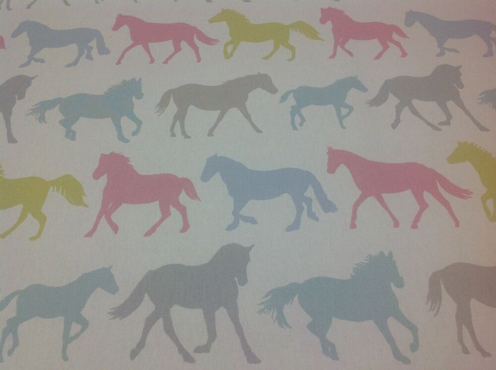 Clarke And Clarke Stampede Horses Cotton Fabric For