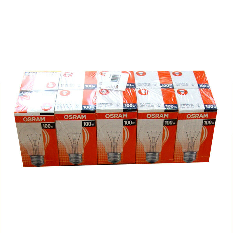 10x osram gl hbirne 100w e27 gl hbirnen 100 watt klar gl hlampe gl hlampen birne ebay. Black Bedroom Furniture Sets. Home Design Ideas