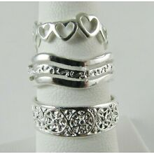 New Wholesale Lot 3 PC Toe Ring 925 Sterling Silver Plate Fashion Jewelry Mix