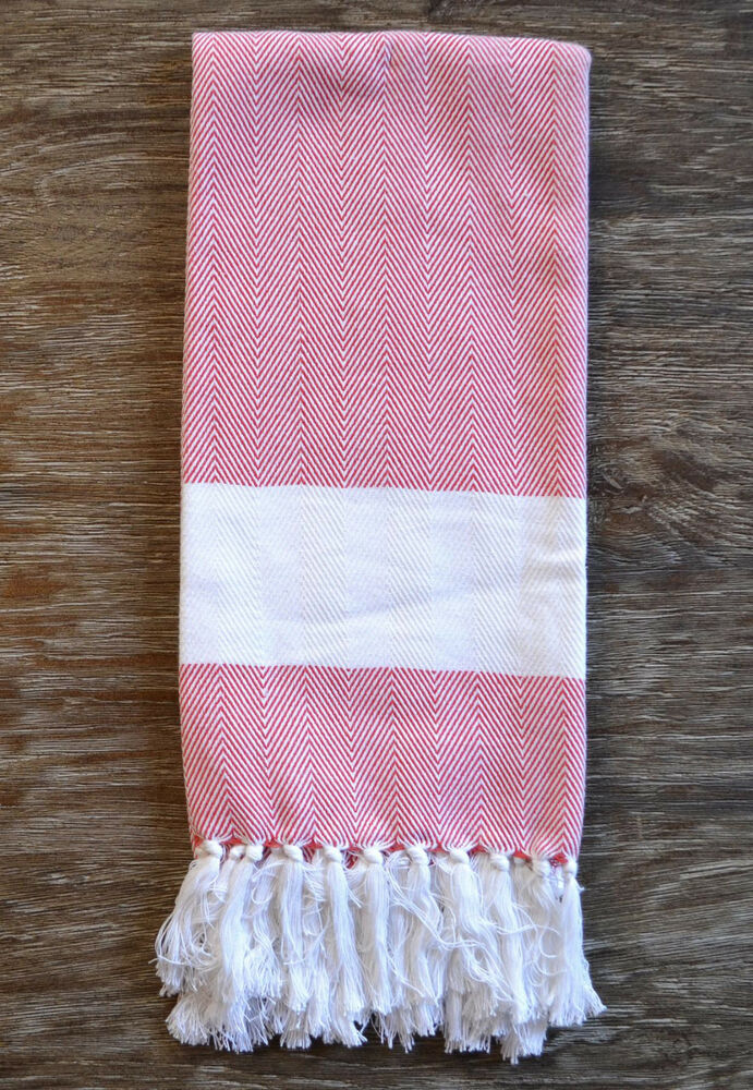 Http Www Ebay Co Uk Itm Red And White Chevron Pattern Cotton Kitchen Towel With Fringe 191282634946