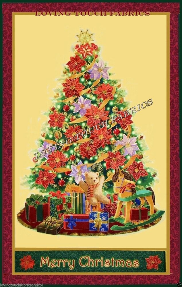 Large christmas tree poinsettia toys packages wall hanging