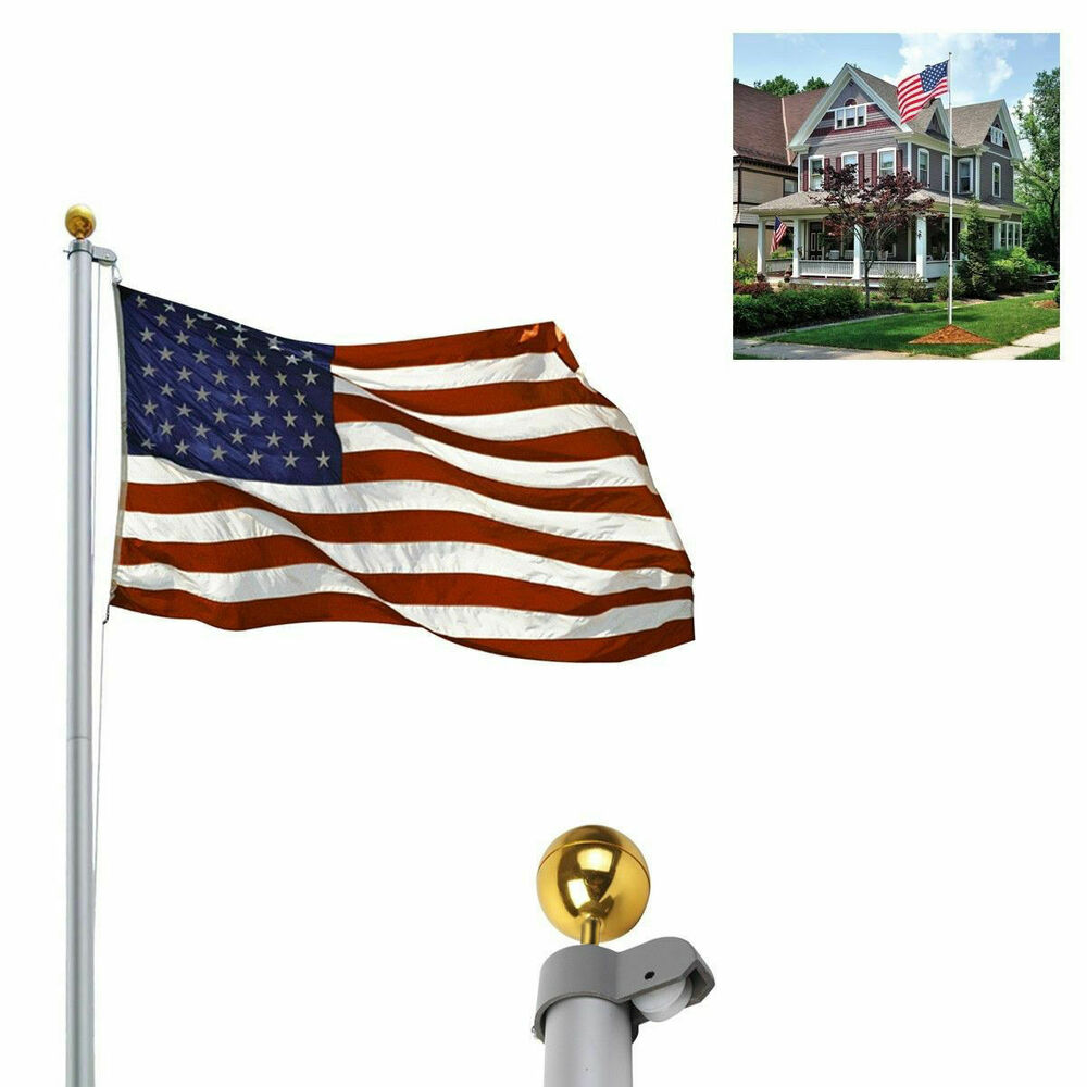 20ft aluminum sectional flagpole kit outdoor halyard pole 1pc us american flag ebay On exterior flags