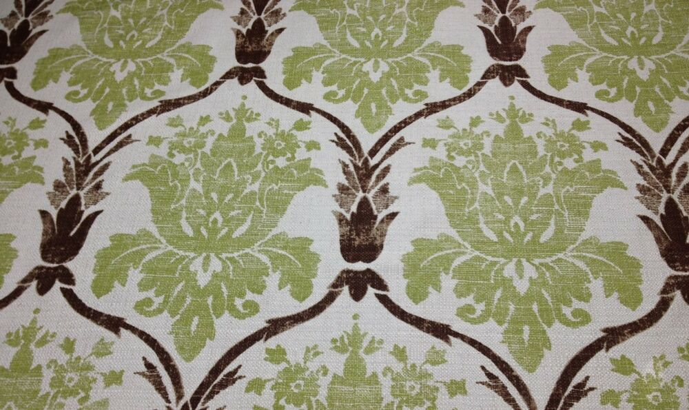 Ballard designs ophelia green damask nubby upholstery for Designer fabric by the yard