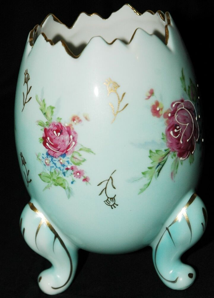 Napcoware Blue Footed Egg Vase Blue With Pink Flowers C3199 6 Inches Ebay