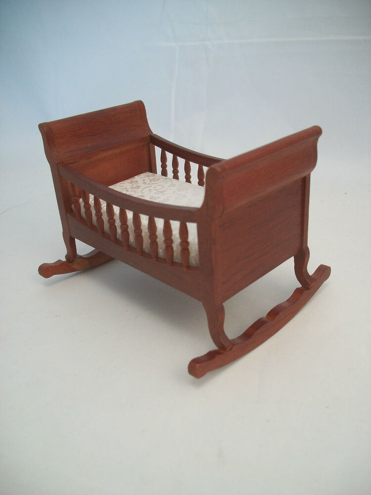 Lincoln cradle dollhouse furniture wooden t6756 1 12 scale miniature ebay Dollhouse wooden furniture