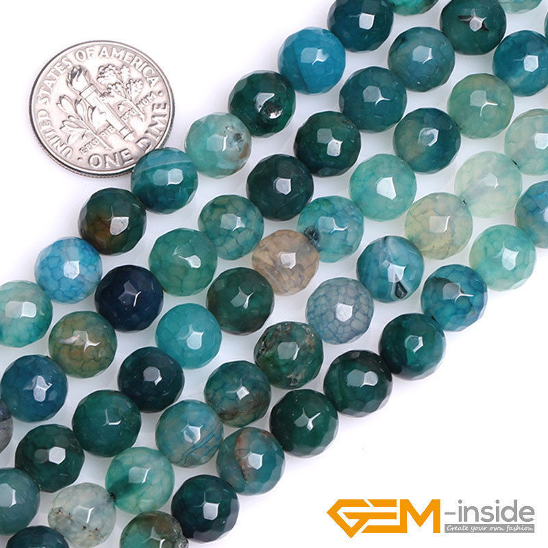 8mm Green Crackle Agate Gemstone Faceted Round Beads For ...