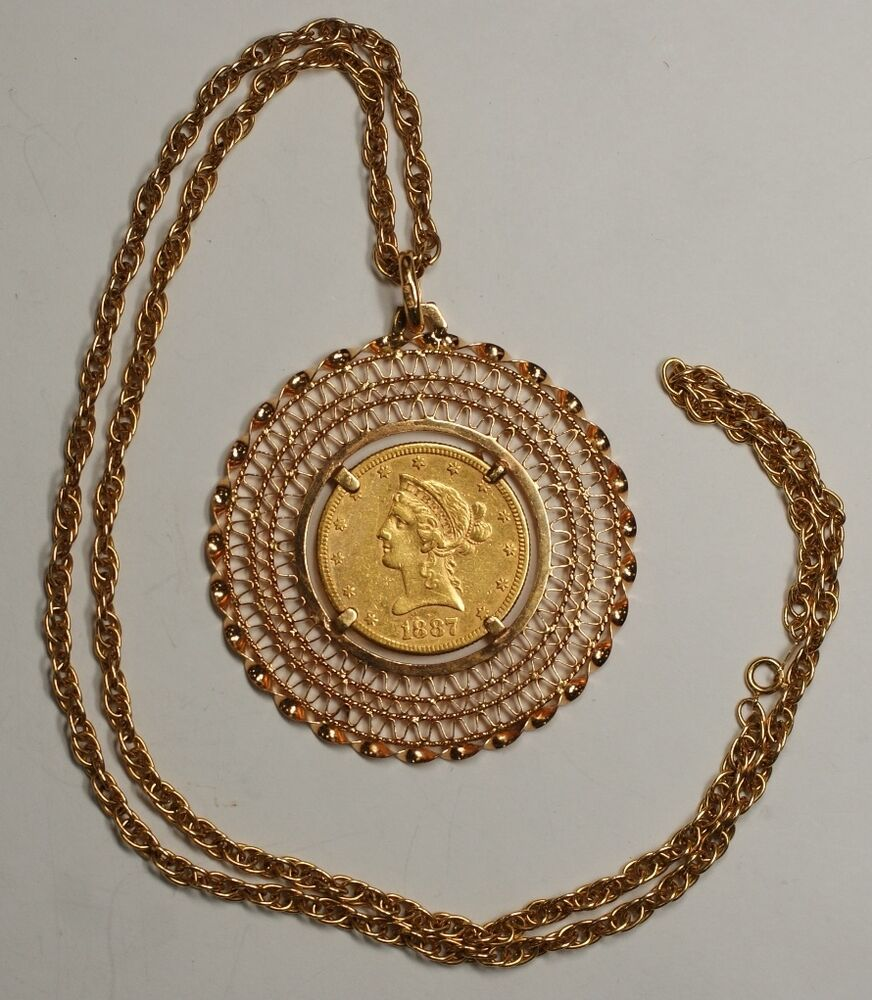 beautiful 1887 s 10 gold eagle in 18k pendant 14k