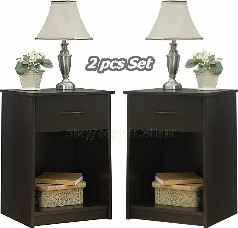 Nightstand Set Of 2 Dark End Table Dark Brown Bedroom