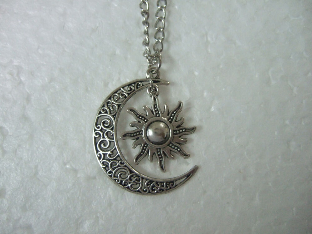 Crescent Moon And Sun Necklace, Vintage Crescent Moon Sun ...