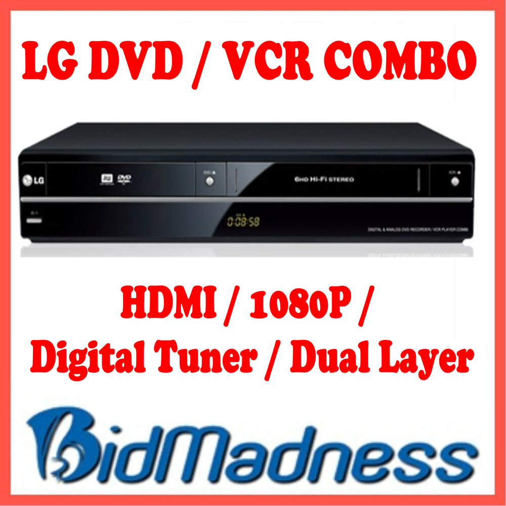lg dvd vcr combo recorder w digital tuner 1080p hdmi. Black Bedroom Furniture Sets. Home Design Ideas
