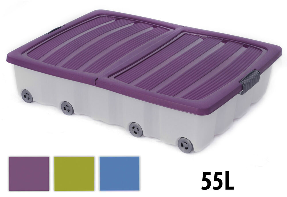 55l large underbed plastic wheeled storage box container with folding lid ebay. Black Bedroom Furniture Sets. Home Design Ideas