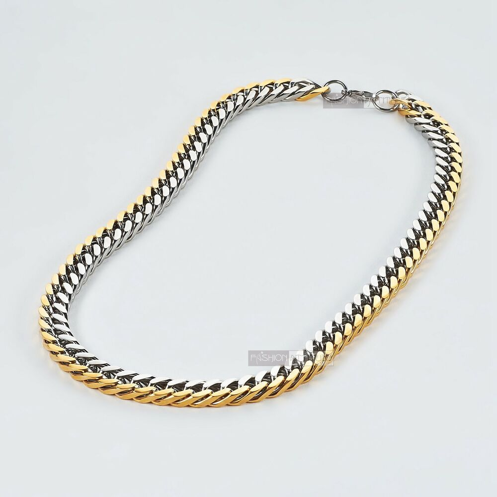 Gold Silver Necklace Stainless Steel Mens Chain Solid