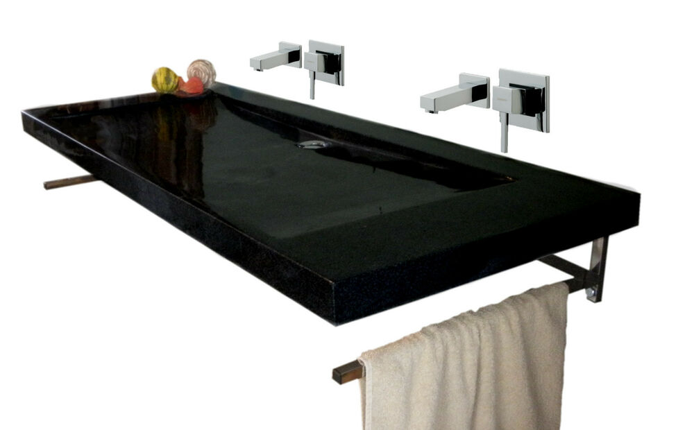 waschbecken aus naturstein granit basel doppelwaschbecken anthrazit 130cm ebay. Black Bedroom Furniture Sets. Home Design Ideas