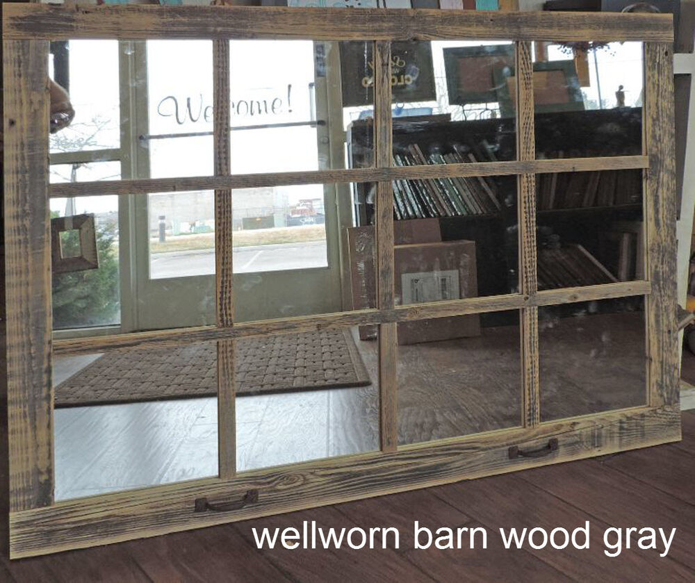 Barn wood 12 pane window mirror rustic mantel or wall Reclaimed wood wall art for sale