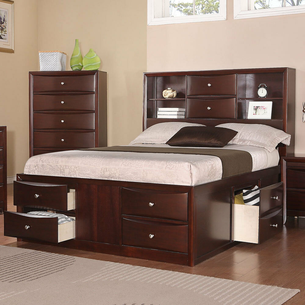 asian contemporary style bookcase chest master bed bedroom bed queen king size ebay. Black Bedroom Furniture Sets. Home Design Ideas