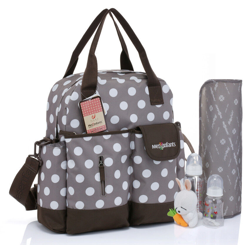 new baby diaper nappy bag backpack brown white dot womens mens mummy travel bags ebay. Black Bedroom Furniture Sets. Home Design Ideas