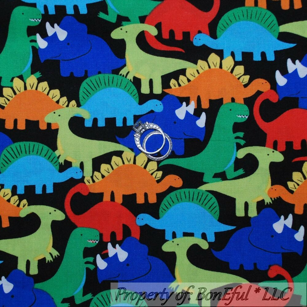 Boneful fabric fq cotton quilt black dinosaur t rex zoo for Dinosaur fabric