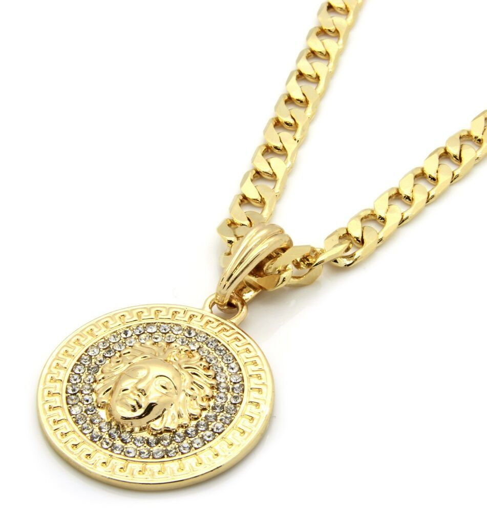 "Mens Medallion Patern Medusa Gold Greek 24"" Cuban Curb ..."
