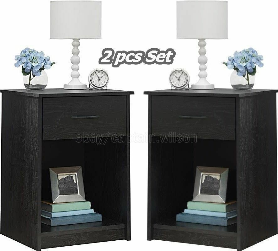 Nightstand Set Of 2 Black End Table Bedroom Bedside