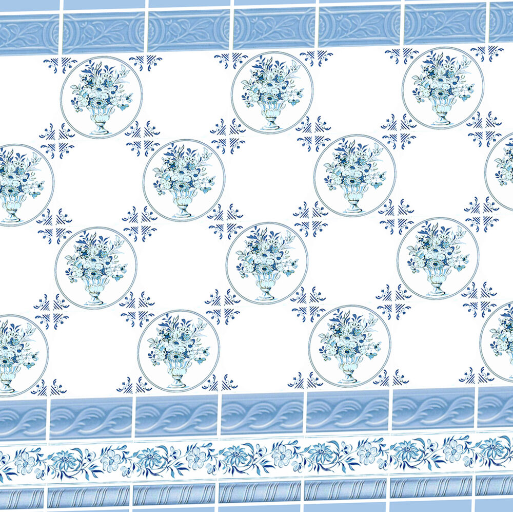 Dolls house victorian wallpaper blue kitchen bathroom for House wallpaper paper