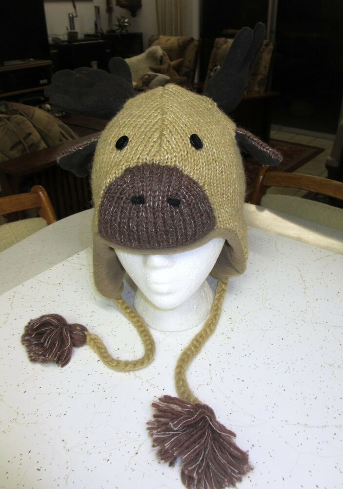 Knitting Pattern For Moose Hat : delux MOOSE HAT knit ADULT animal cap costume LINED thidwick toque antlers NE...