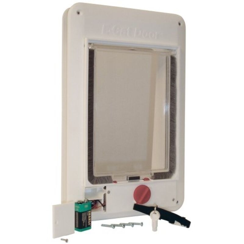 Ideal pet products cat flap plastic med elec cfe pet door for Ideal pet doors
