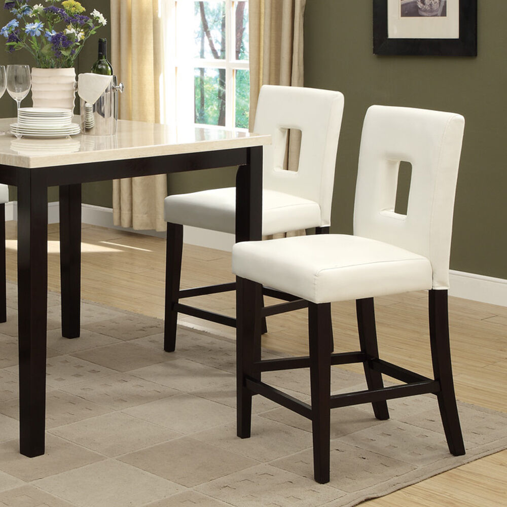 Modern White Faux Leather Counter Height Chair Set of 2